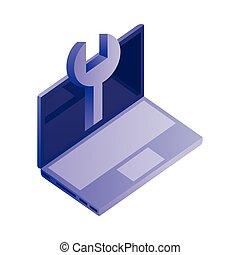 isometric , εργαλείο , ηλεκτρονικός υπολογιστής , βίαια στροφή , laptop , εικόνα