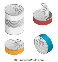isometric , θέτω , ανοιγμένα , τροφή , απομονωμένος , επιγραφή , γανώνω cans , κλειστός , κενό , άσπρο