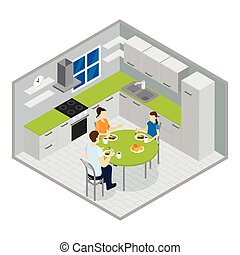 isometric , σχεδιάζω , γεύμα , οικογένεια