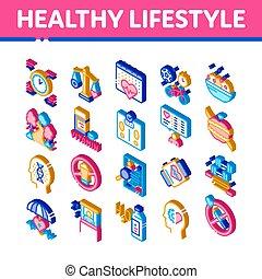 isometric , υγιεινός , απεικόνιση , θέτω , μικροβιοφορέας , τρόπος ζωής