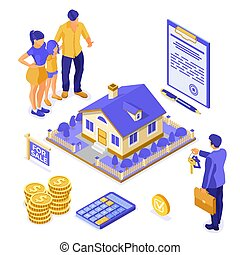 isometric , υποθηκεύω , ενοικιάζω , σπίτι , πώληση , αγοράζω