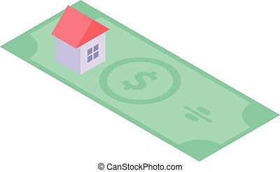isometric , υποθηκεύω , σπίτι , δολάριο , ρυθμός , εικόνα