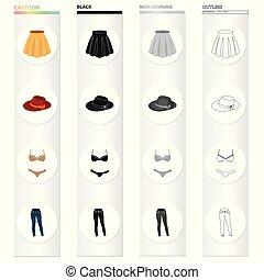 isometric , φούστα , ρυθμός , θέτω , περίγραμμα , μικροβιοφορέας , εσώρουχα , σύμβολο , απεικόνιση , web., εξαρτήματα , εικόνα , women's , jeans., μαύρο , συλλογή , μονόχρωμος , ρουχισμόs , γελοιογραφία , καπέλο , στοκ