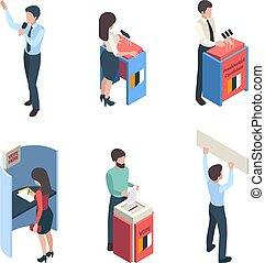 isometric., 選択, 投票, スピーカー, ベクトル, 特徴, 政治的である, politic, 人々, キャンペーン, レポーター, 投票