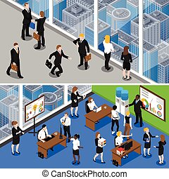 isometric, 2, banieren, zakenlui