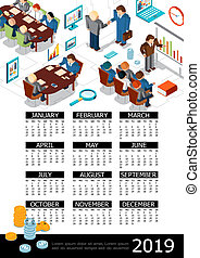 Isometric 2019 Year Business Calendar Template
