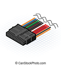 Isometric 24 Pin Connector - This image is a 24 pin cable...