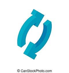 isometric, 3, felfrissít, nyílvesszö icon