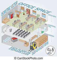 Isometric 3 level office - Each level on a separate layer. ...