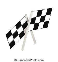 isometric, 3, zászlók, motor, ikon, versenyzés, kockás