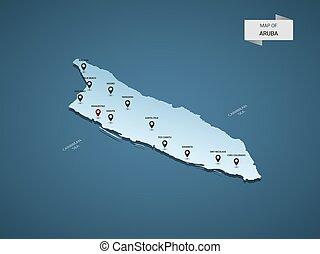 Isometric 3D Aruba vector map concept.