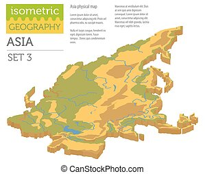 Isometric 3d Asia physical map constructor elements isolated on white. Build your own geography infographics collection