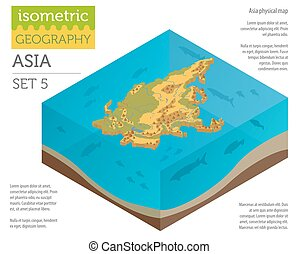Isometric 3d Asia physical map constructor elements on the water surface. Build your own geography infographics collection