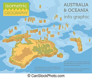 Isometric 3d Australia and Oceania physical map elements. Build your own geography info graphic collection