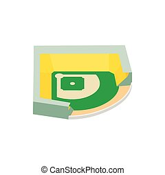 isometric, 3d, baseball, stadion, ikona