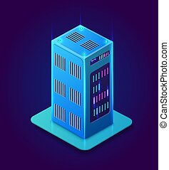 Isometric 3D blockchain data bitcoin center computer...