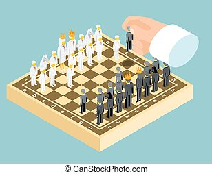 Isometric 3d business chess figures. Business strategy concept. Competition and board, chessboard and rook, chessman knight, vector illustration