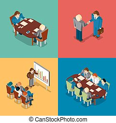 Isometric 3D business people icons. Meeting job interview, deal handshake and presentation