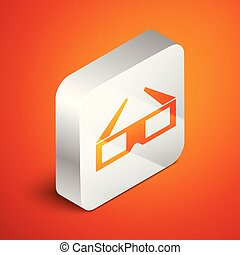 Isometric 3D cinema glasses icon isolated on orange background. Silver square button. Vector Illustration