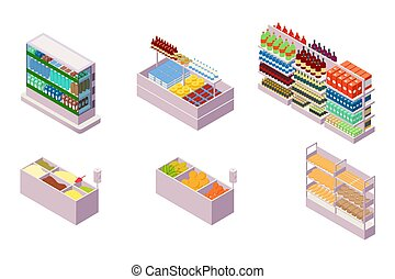 Isometric 3d collection isolated urban element of grocery department.