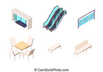 Isometric 3d collection isolated urban element of shopping center entry.