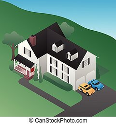 Isometric 3D Country House Vector Illustration