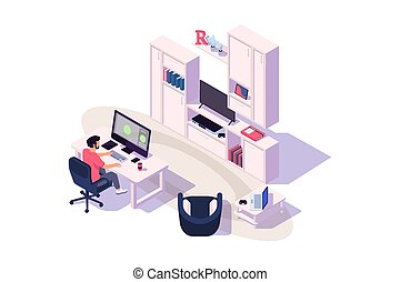 Isometric 3d cozy workplace with businessman at work with...