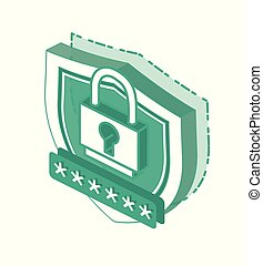 Isometric 3d Cyber Security Concept. Outline Shield Icon and Safe Password Isolated on White Background.