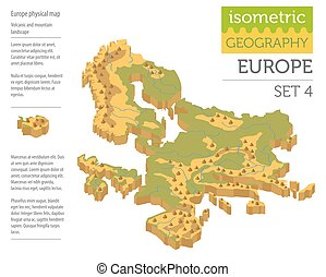 Isometric 3d Europe physical map constructor elements isolated on white. Build your own geography infographics collection