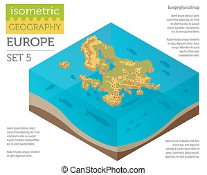 Isometric 3d Europe physical map constructor elements on the water surface. Build your own geography infographics collection