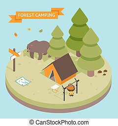 Isometric 3d forest camping icon