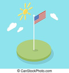 Isometric 3d icon of American flag.