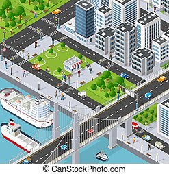 Isometric 3D illustration City with river embankment with