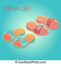 Isometric 3d illustration of colorful womens shoes.
