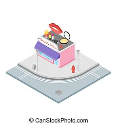 Isometric 3d illustration of cosmetics store.