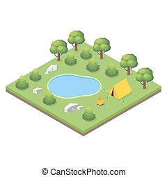 Isometric 3d illustration of forest camp.