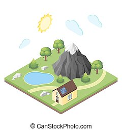 Isometric 3d illustration of house in the mountains.