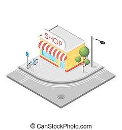Isometric 3d illustration of shop