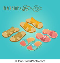 Isometric 3d illustration of women's and man's shoes.