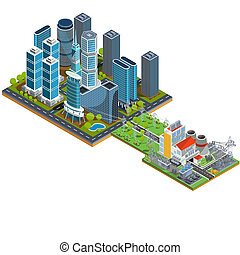 isometric 3D illustrations of modern urban quarter with skyscrapers and a nearby power station