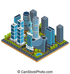 isometric 3D illustrations of modern urban quarter with skyscrapers, offices, residential buildings