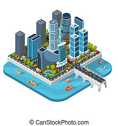 isometric 3D illustrations of modern urban quarter with skyscrapers, offices, residential buildings, transport