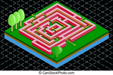 Isometric 3D maze tile with arrow solution. Labyrinth on the green grass on a black background