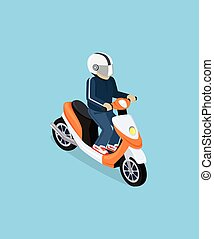 Isometric 3D Motorbiker with Motorcycle