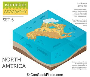 Isometric 3d North America physical map elements. Build your own geography info graphic collection