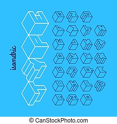 Isometric 3d outline font, three-dimensional alphabet. Vector illustration.