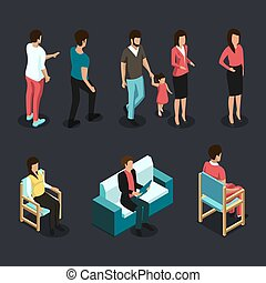 Isometric 3d People Set. Set of Women and Man With Daughter. Vector illustration