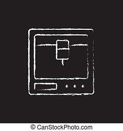 Isometric 3d printer drawn in chalk