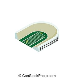 isometric, 3d, rugby, stadion, ikona