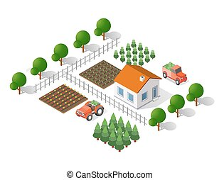 rural landscape elements - Isometric 3d rural landscape...